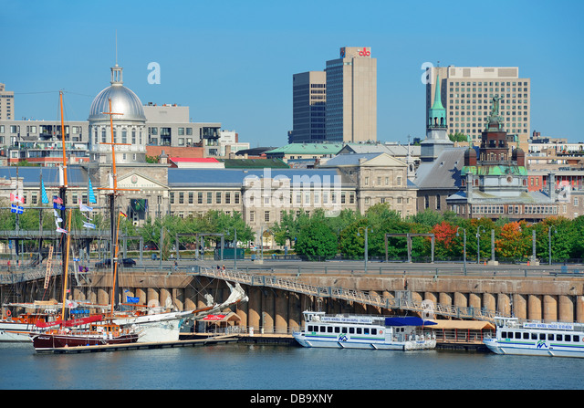 Montreal buildings over river - Stock Image