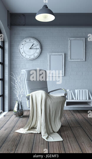 3d render of chair in modern apartment setting - Stock Image