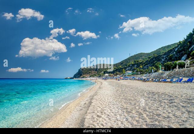 Kathisma Beach, Lefkada Island, Greece. Kathisma Beach is one of the best beaches in Lefkada Island in Ionian Sea - Stock Image
