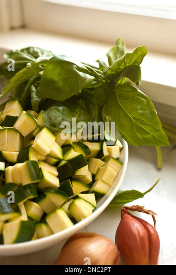 Cubes of zucchini - Stock Image