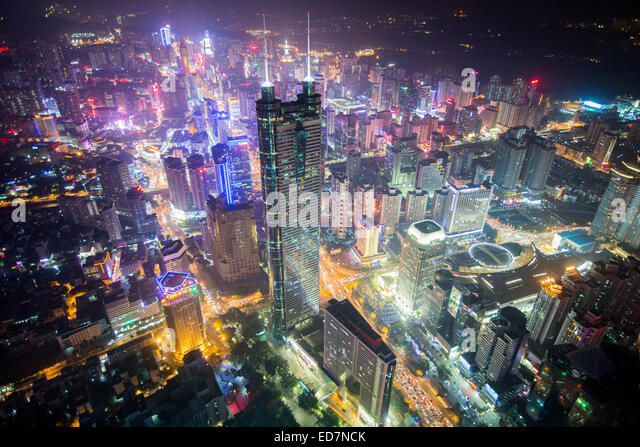 Shun Hing Square (also known as Diwang Dasha) is the second highest skyscraper in Shenzhen, Guangdong province, - Stock Image