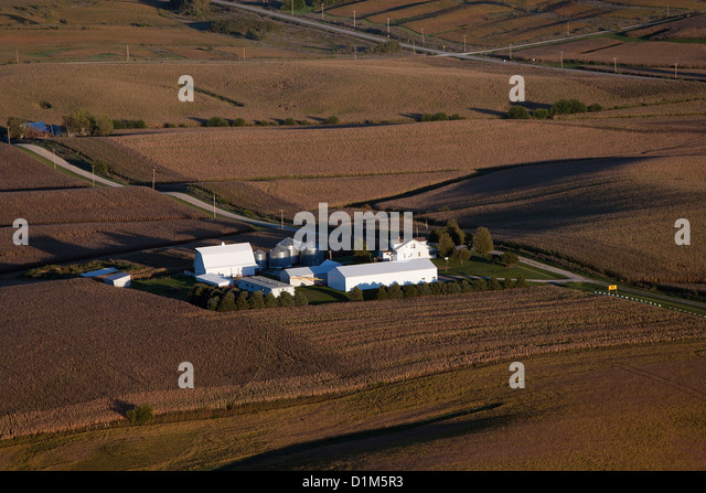 aerial photograph farm eastern Iowa near Iowa City - Stock Image