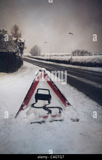 road sign in the snow - Stock-Bilder