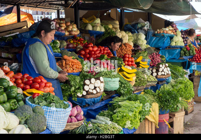 Fruits and vegetables market. Sucre. Bolivia - Stock Image