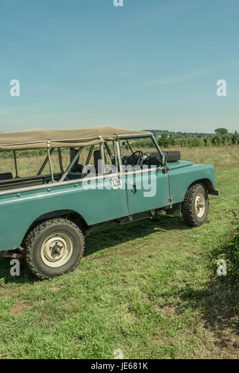 Exterior of a Classic Land Rover model (specifically a Series 2a 109). - Stock Image