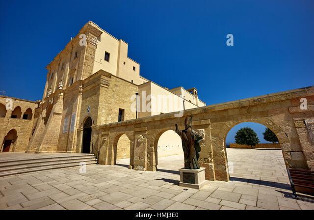 Santa Maria di Leuca. Apulia, Italy. Santa Maria di Leuca is famous for the iconic lighthouse. With its height of - Stock Image