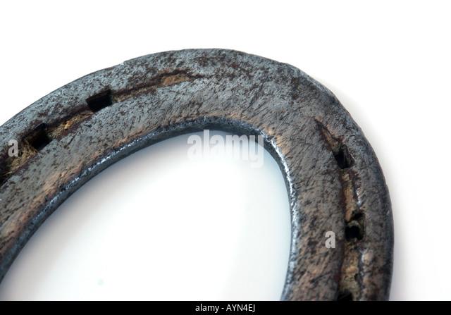 Horseshoe isolated macro - Stock Image