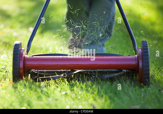 Woman cutting grass with environmentally friendly lawn mower. Winnipeg, Manitoba, Canada. - Stock Image