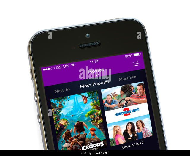 On demand movies via the Sky's NOW TV app on an Apple iPhone 5S - Stock Image