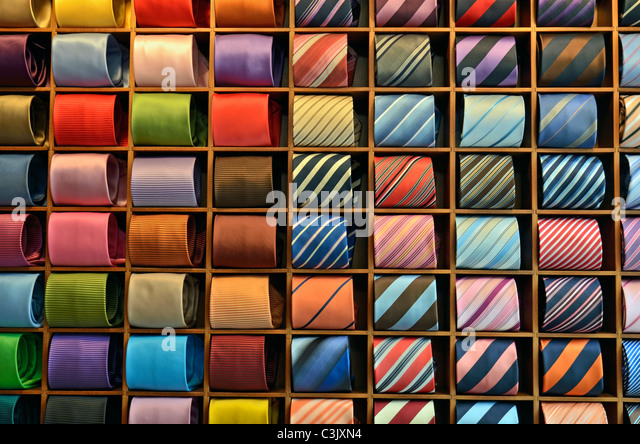 Ties display in a clothing retail store - Stock Image