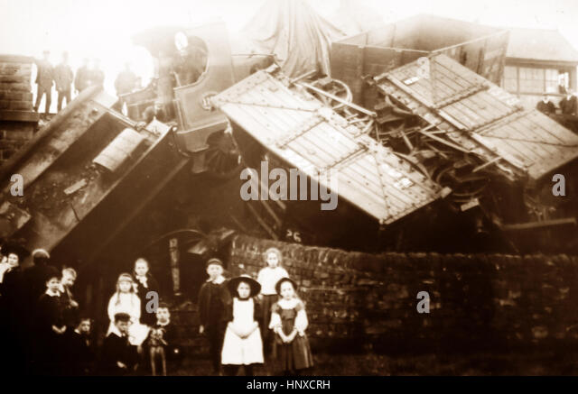 A railway accident - Victorian period - Stock Image