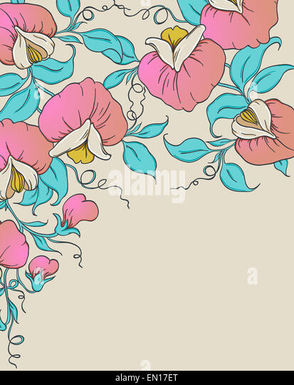 Floral background with pink sweet pea - Stock-Bilder