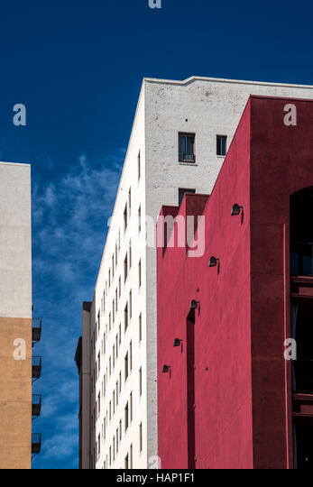 Brightly coloured buildings near Hollywood Boulevard in Downtown Los Angeles, California - Stock Image