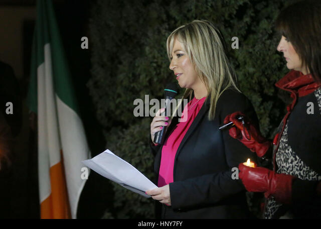 Sinn Fein's new leader at Stormont Michelle O'Neill addresses a commemoration in Clonoe, Co Tyrone in memory - Stock Image