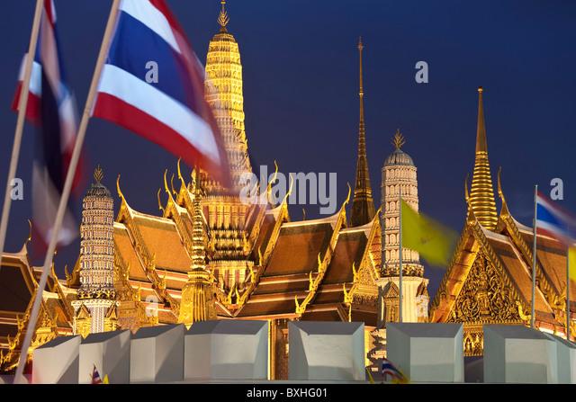 Dusk, Wat Phra Kaeo, Grand Palace, Bangkok, Thailand - Stock Image