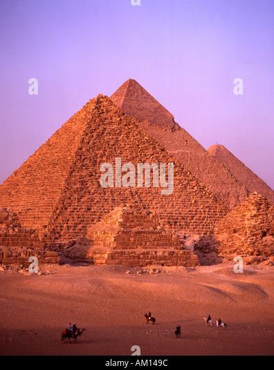 Egypt Giza pyramids antiquity archeological site - Stock Image