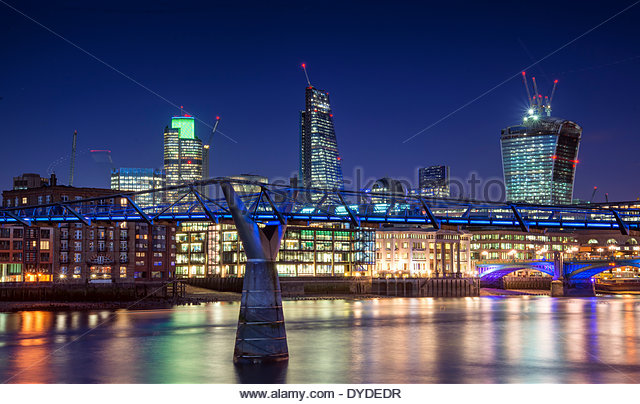 London city night skyline with Millennium Bridge and Walkie Talkie. - Stock Image