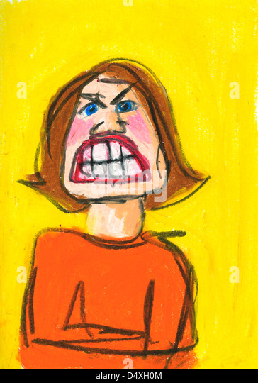 Expressive portrait of an angry woman showing her teeth. - Stock Image