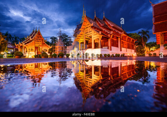 Wat Phra Singh in Chiang Mai, Thailand. - Stock Image
