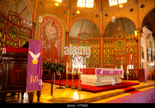 Castries St Lucia Cathedral of the Immaculate Conception altar - Stock Image