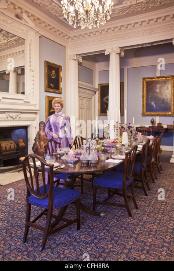 The Reconstructed Victorian Dining Room In Lydiard House Swindon Wiltshire England UK