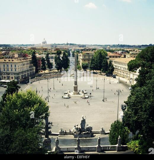 Italy, Rome, Circular courtyard - Stock Image