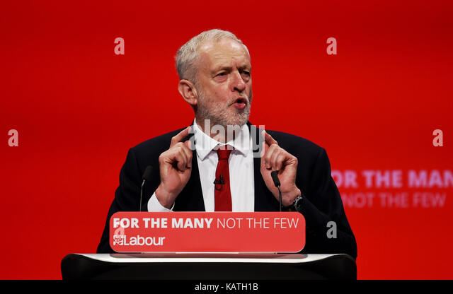 Brighton, UK. 27th Sep, 2017. Jeremy Corbyn delivers his leaders speech at the Labour Party Conference in Brighton - Stock Image