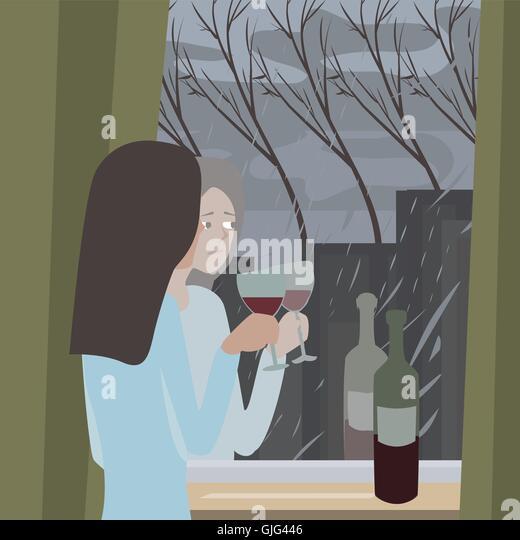 season depression cartoon illustration with woman looking at rain through window - Stock Image