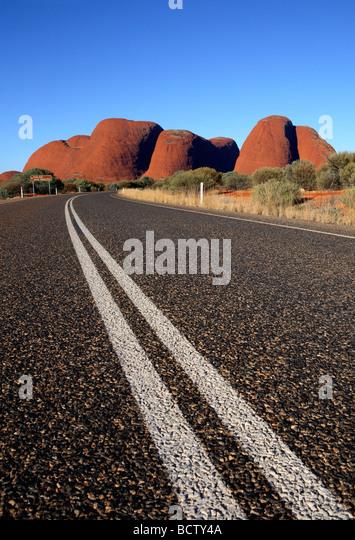 Road to Kata Tjuta National Park Central Australia - Stock Image