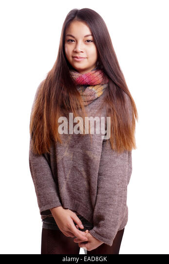 shy asian girl - Stock Image