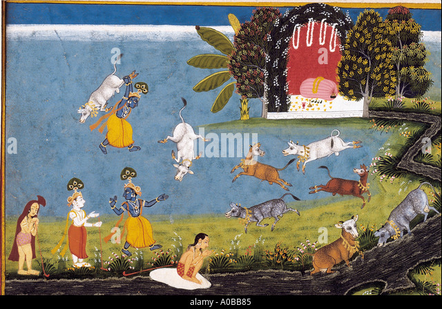 Krishna kills the bull demon Aristasura Scene from the Bhagavata Purana Mewar Rajasthan India Dated 1725 A D - Stock Image