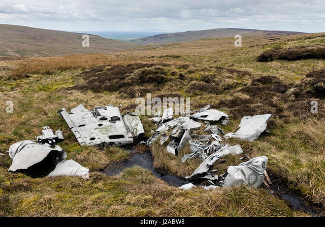 The wreckage of an RAF, De Havilland Venom Mk4, Serial No WR557, of No.22 Maintenance Unit which crashed near Farlam - Stock Image