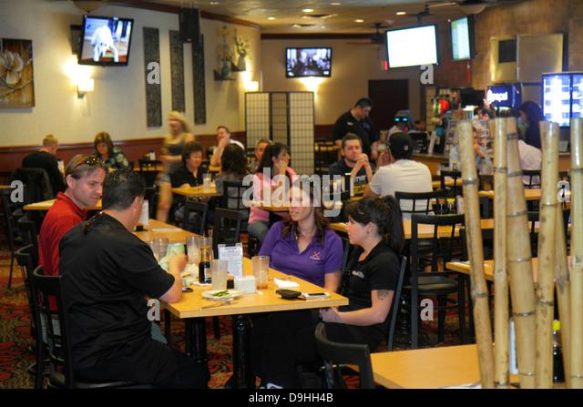 Nevada Las Vegas Downtown Plaza Hotel & Casino restaurant tables - Stock Image