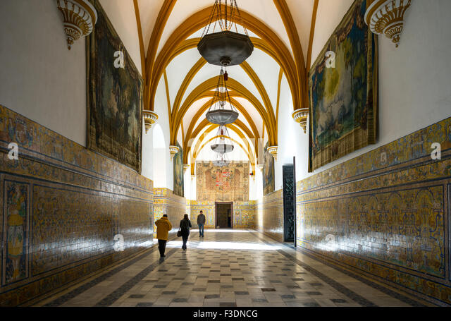 Spain, Andalusia, Seville, the Reales Alcazares entrance hall - Stock Image