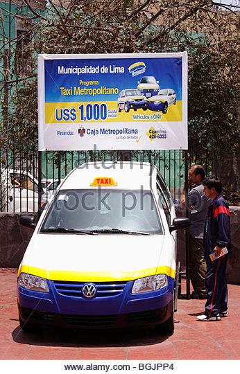 Promotion by Lima City Council for the use of LPG powered taxis, to combat pollution. Peru - Stock Image