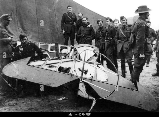 Remains of Baron von Richthofen's plane, WW1 - Stock Image