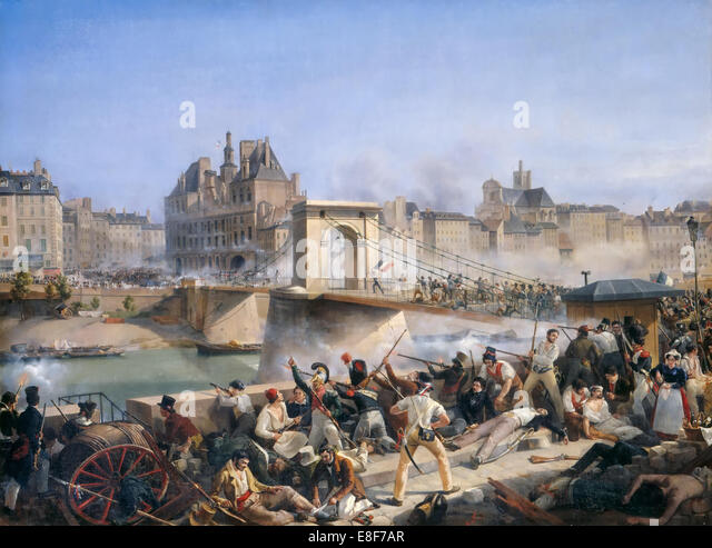 Attack on the Hotel de Ville and Combat on the Pont d?Arcole, July 28, 1830. Artist: Bourgeois, Amédée - Stock Image