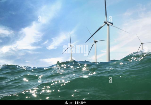 wind turbines in the sea - Stock Image