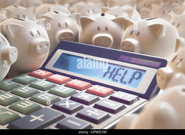 Calculator with the word help and piggy banks, illustration. - Stock-Bilder