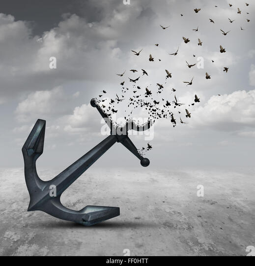 Letting go psychology concept as a heavy anchor transforming into a flying group of birds as a motivational metaphor - Stock-Bilder