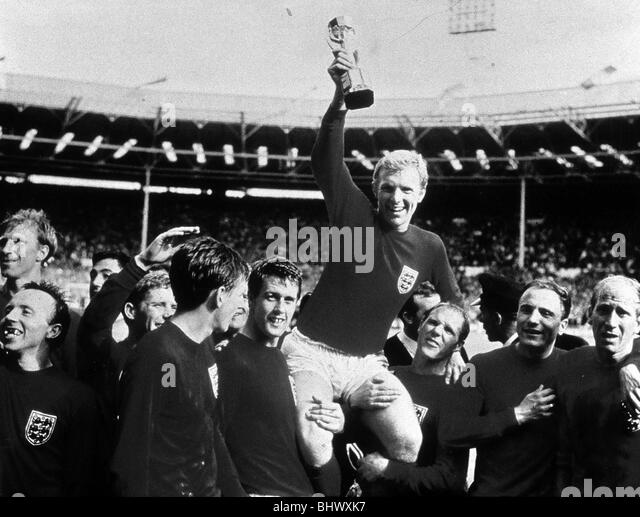 World Cup Final July 1966 at Wembley Stadium England 4 v West Germany 2 after extra time England captain Bobby Moore - Stock Image