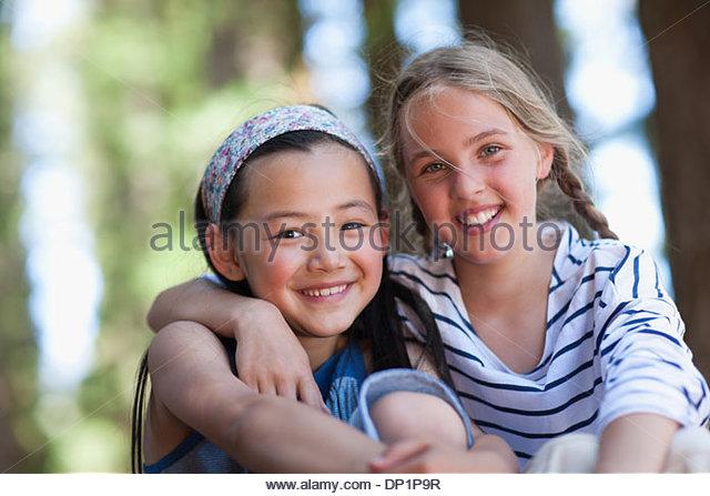 Two girls, portrait - Stock Image