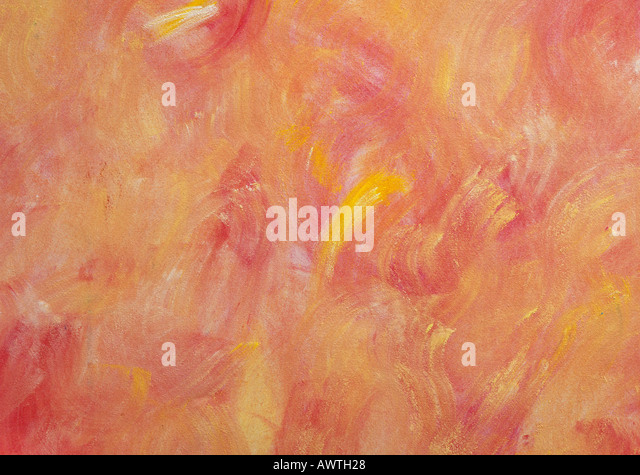 Abstract warm-colored painting, close-up, full frame - Stock Image
