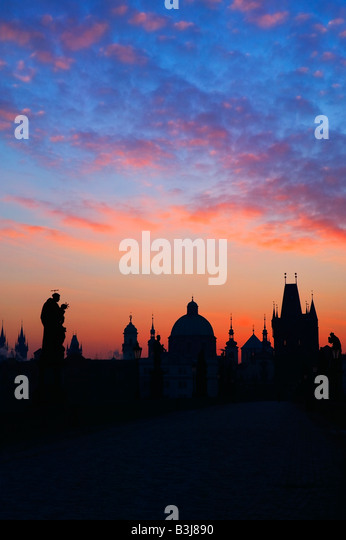 Charles Bridge Prague Czech Republic at dawn - Stock-Bilder