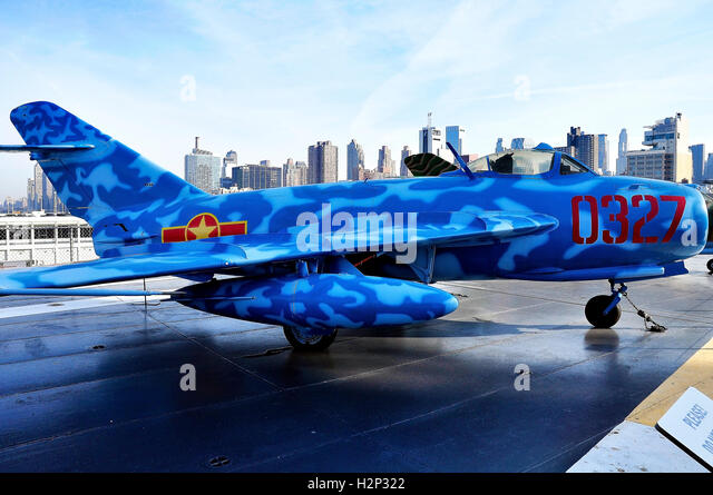 Russian Mig on the Aircraft carrier USS Intrepid - Stock Image