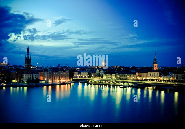 Gamla Stan and Riddarholm Church, Stockholm, Sweden - Stock Image