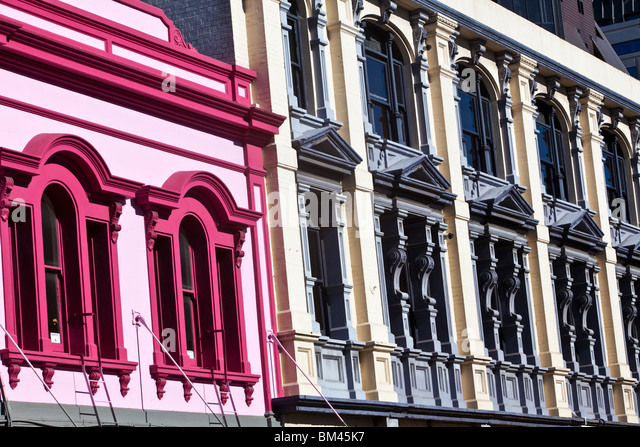 Colourful architecture along Manchester Street. Christchurch, Canterbury, South Island, New Zealand - Stock Image