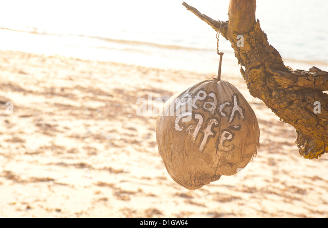 Beach Cafe written on a coconut on Gili Trawangan, Gili Isles Archipelago, Indonesia, Southeast Asia, Asia - Stock Image