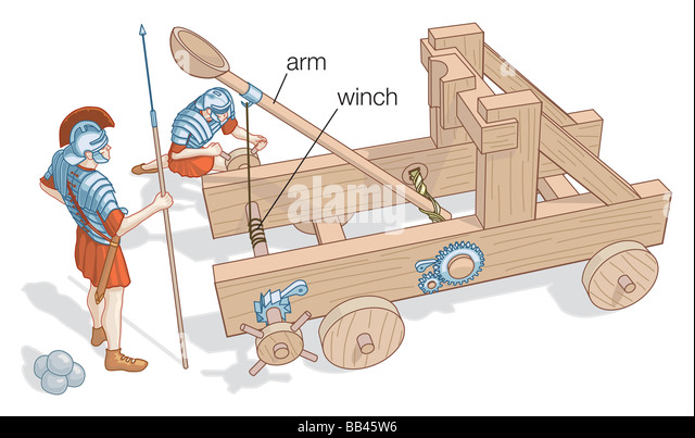 Illustration of a small catapult with wheels, such as would have been used in battle. - Stock Image