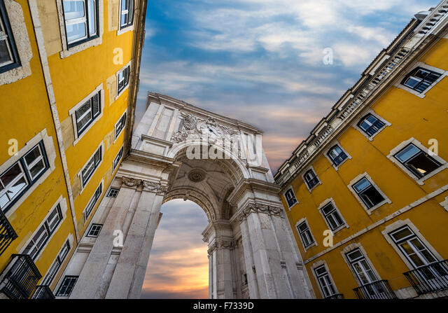 Triumphal Arch in the Rua Augusta, Lisbon, Portugal - Stock Image